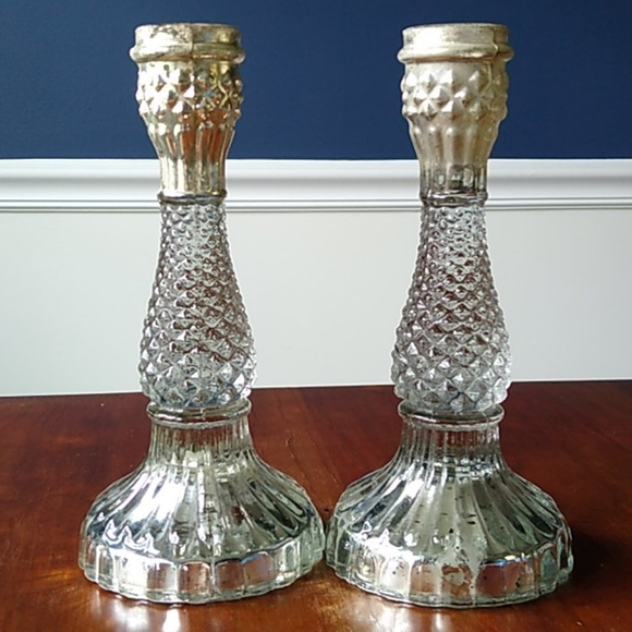 Set of 2 Pottery Barn Eclectic Candlestick Holders